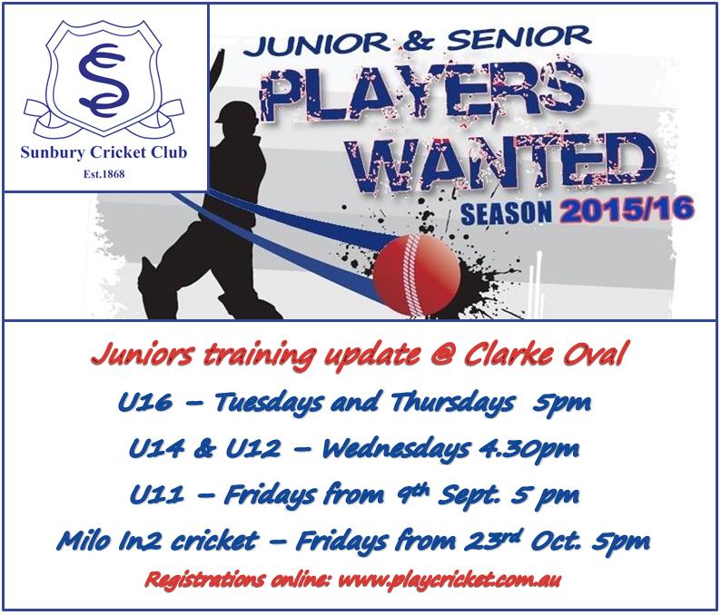 Junior training update 2015 (1/2)